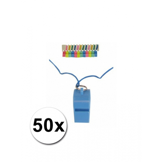 50 plastic scheidsrechterfluitjes aan koord