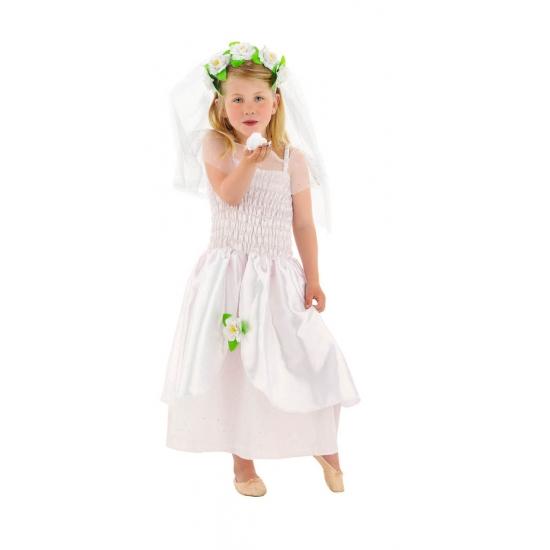 Bruidsjurk en sluier met bloemen voor meisjes