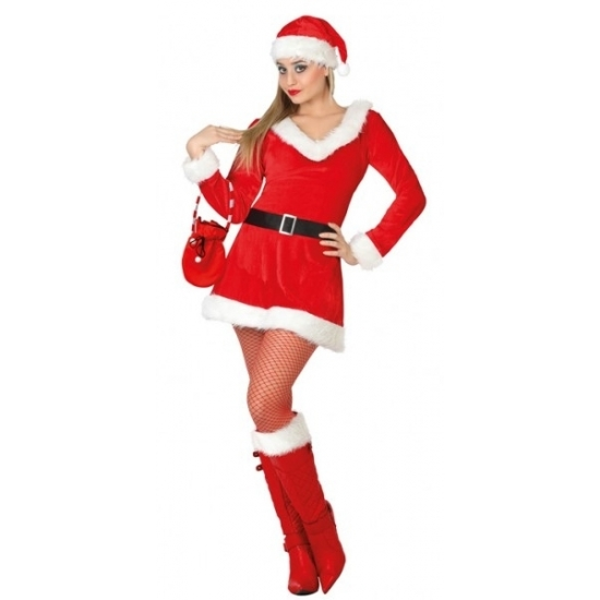Dames kerstkleding jurkje met V-hals
