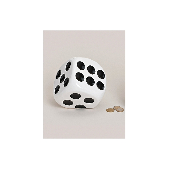 Dobbelstenen spaarpotten wit