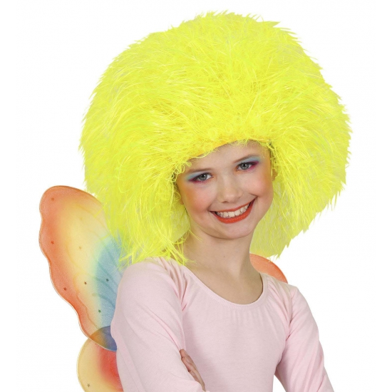 Gele afro kinderpruik