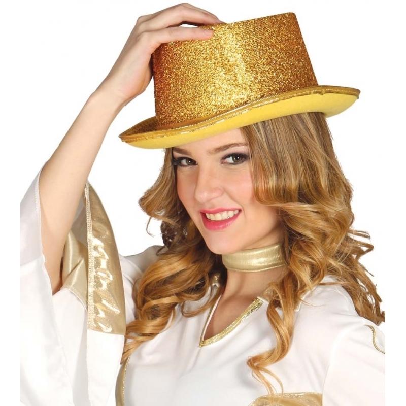 Glitter hoge hoed goud (bron: Feestpruikenwinkel)