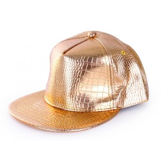 Gouden rapper cap krokodillenprint