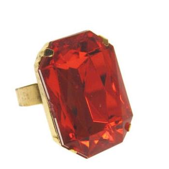 Goudkleurige Sinterklaas ring met rode steen thumbnail
