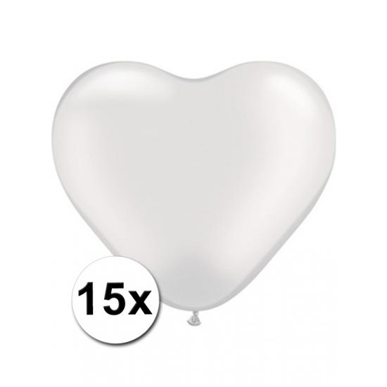 Hart ballonnen wit 15 stuks