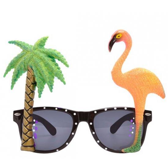Hawaii thema bril met flamingo glazen