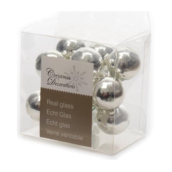 Kerststukje zilveren balletjes 10 stuks