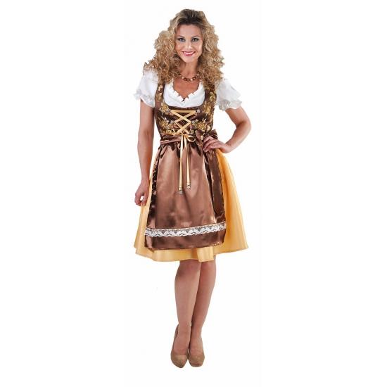 Luxe gouden dirndl jurkje met edelweiss knopen