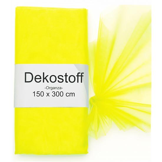 Neon gele organza stof op rol 150 x 300 cm