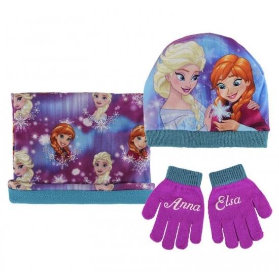 Paarse meisjes winter setje Frozen (bron: Feestpruikenwinkel)