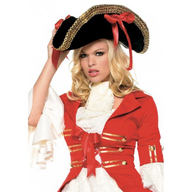 Piraat hoed zwart met strikken
