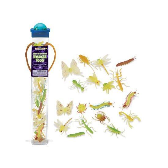 Plastic insecten dieren glow in the dark 18 stuks