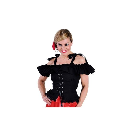 Tiroler blouse met koordje Carmen zwart