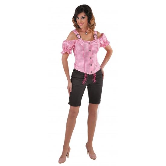 Tiroler geruite blouse off shoulders roze (bron: Feestpruikenwinkel)