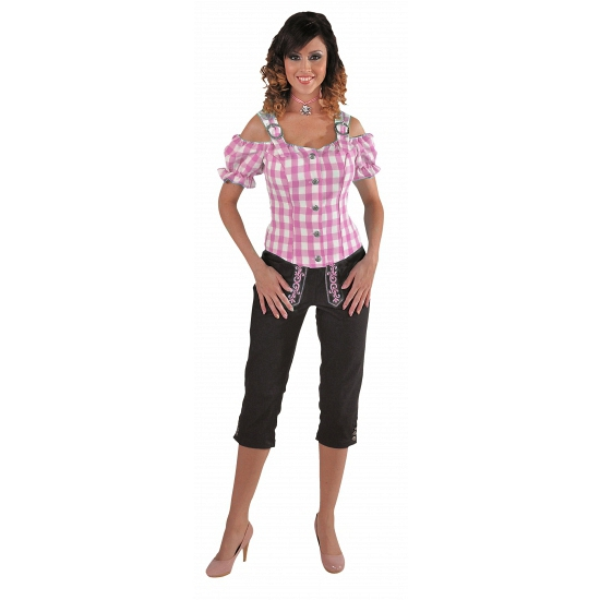 Tiroler geruite blouse off shoulders roze