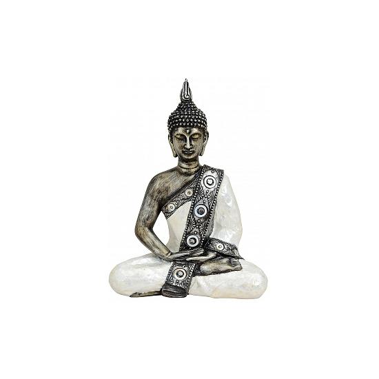 Tuindecoratie Thaise Boeddha beeld zilver/wit 27 cm