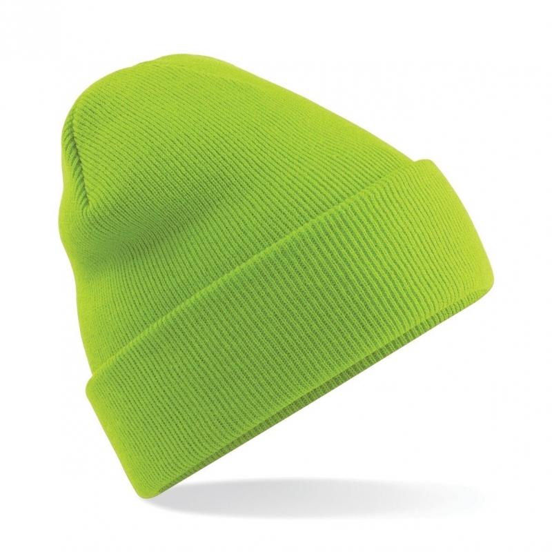 Warme gebreide muts in het Lime groen
