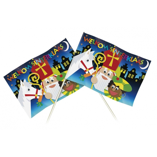 Welkom Sinterklaas zwaaivlaggetjes 20 x 30 cm thumbnail