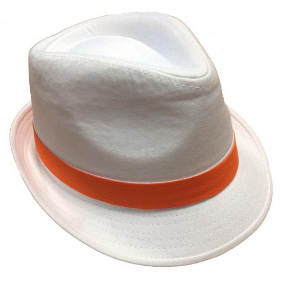 Witte hoeden met oranje bies