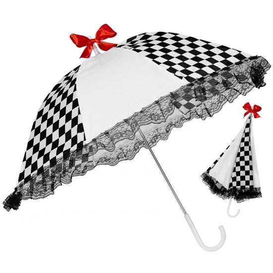 Zwart witte paraplu met kant