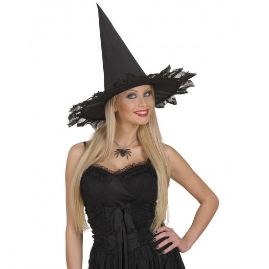 Zwarte heksen ketting met spin