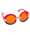 Oranje feestbril met gekruld montuur