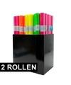 2x Boeken kaften kaftfolie neon roze 3 meter