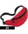 2x Heuptassen rood met verstelbare band