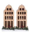 2x Kerstdorp maken kersthuisjes grachtenpand klokgevel 21 cm met LED lampjes