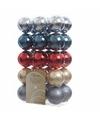 30-delige kerstballen set blauw-rood