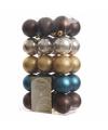 30-delige kerstballen set bruin-goud