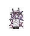 6x Kerstballen stervormig lila paars kunststof