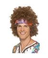 Bruine hippie afro voor heren