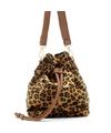 Bruine-zwarte luipaardprint schoudertas-cross body tas-bucket bag 30 cm Nel Tijgervel