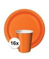 Feest decoratie pakket oranje Holland supporter-fan 16 bekertjes en bordjes
