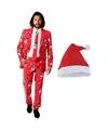 Foute Kerst Opposuits pakken-kostuums met Kerstmuts maat 54 (2XL) voor heren Christmaster