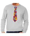 Foute kerst sweater met kerstballen stropdas grijs voor heren