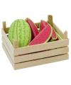 Houten fruitkist met watermeloenen