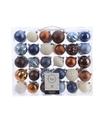 Kerst kerstballen mix 60 delig blauw- koper- bruin en wit