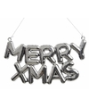 Kerstboomdecoratie hanger zilveren tekst Merry Xmas 20 cm