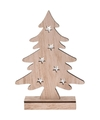 Kerstdecoratie kerstboom hout 28 cm met LED lampjes
