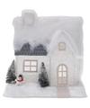 Kerstdorp kersthuisje 25 cm wit type 2 met LED lampjes