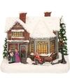 Kerstdorp maken kersthuisjes zingend gezin 19 cm met LED lampjes