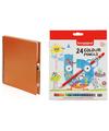 Oranje schetsboek-tekenboek met 24 kleurpotloden