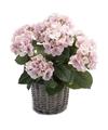 Roze kunstplant Hortensia plant in mand