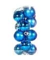 Turquoise kerstballen 12 stuks 3 cm