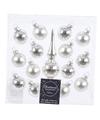 Zilveren kerstballen en piek set voor mini kerstboom